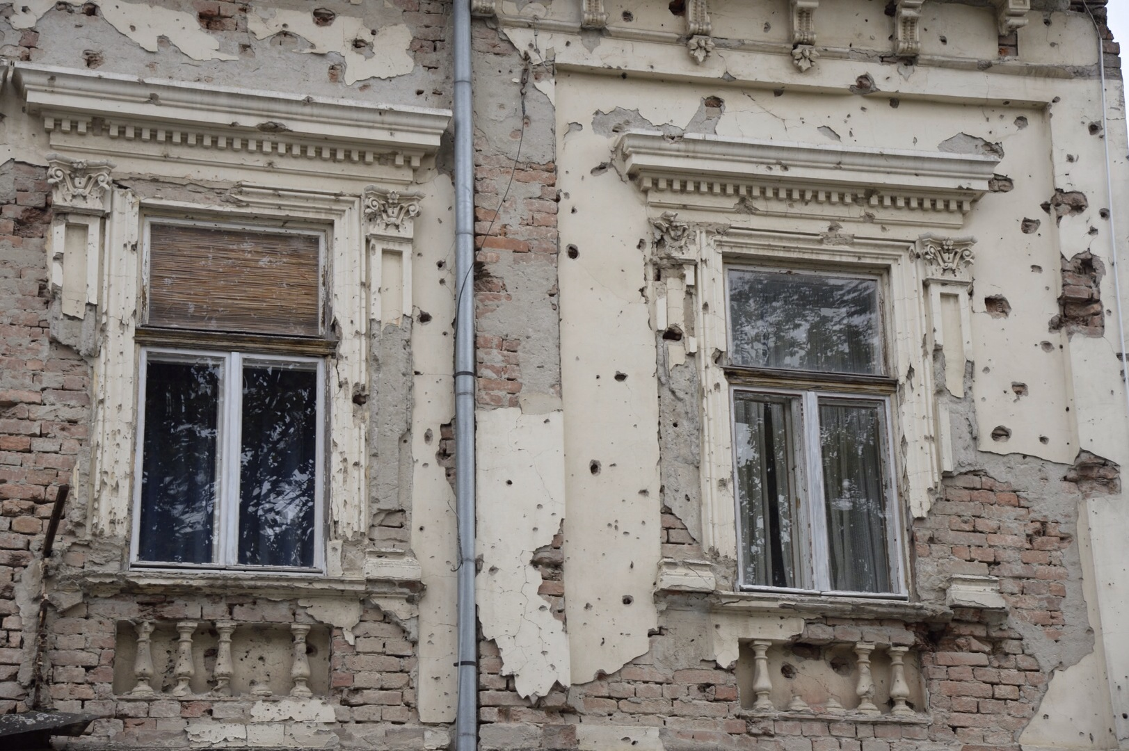 Another building with bombing damage in Vukovar, Croatia