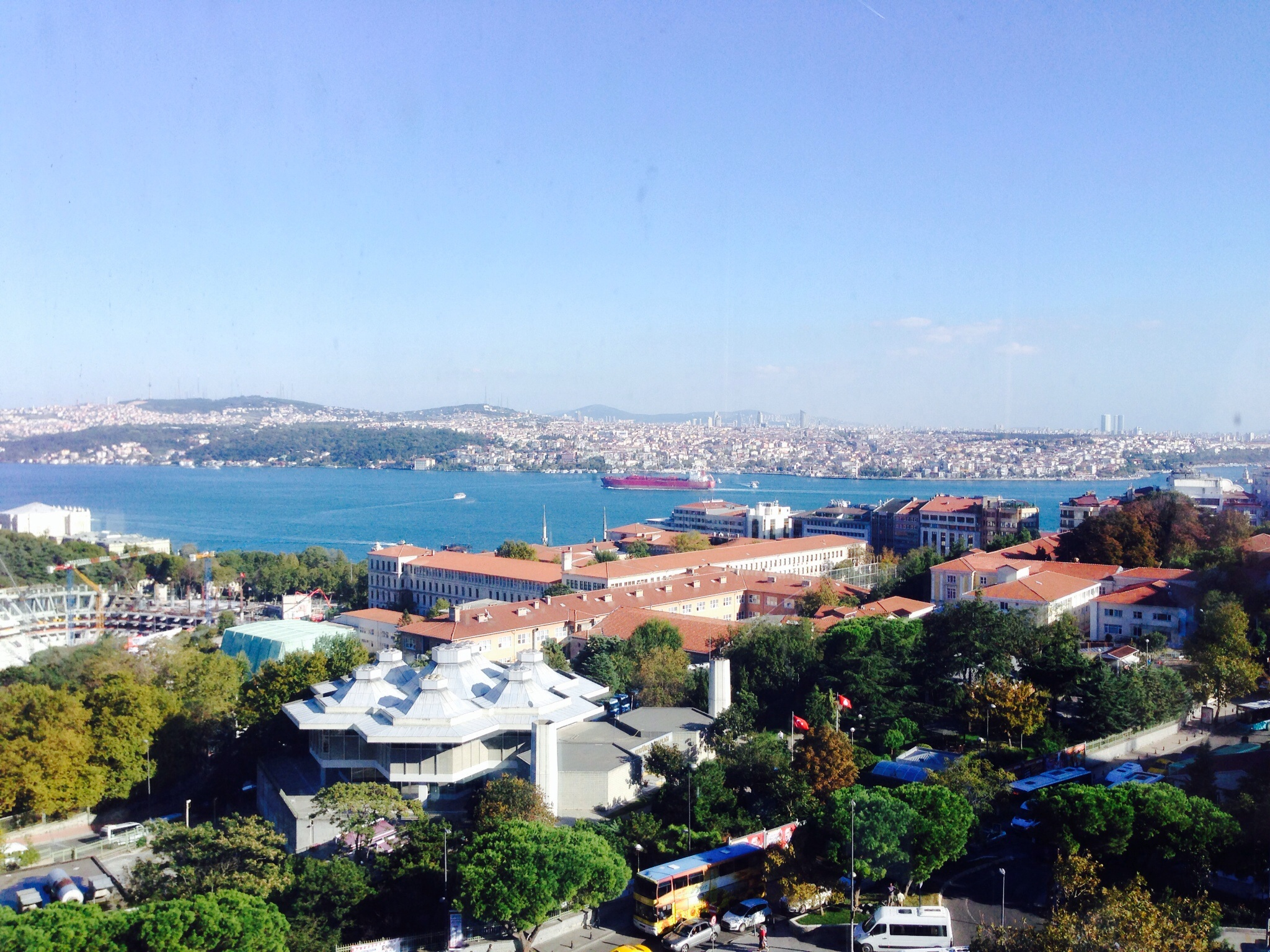 A view of the Asian side of Istanbul with ferries and shipping traffic from our hotel room