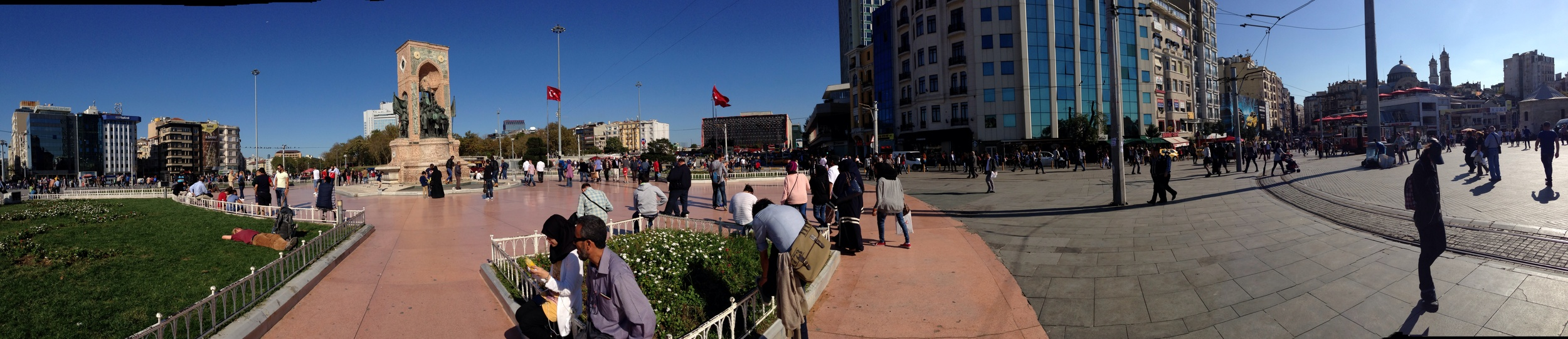 Taksim Square; which is actually round with not one but 2 huge Turkish flags flying.