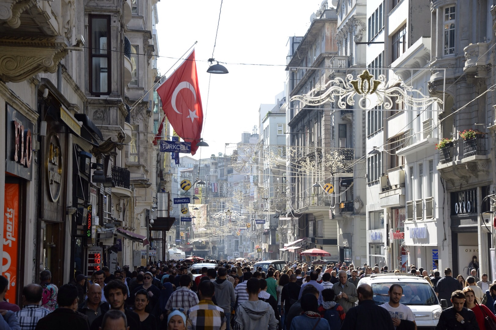 Looking down Istiklal Street