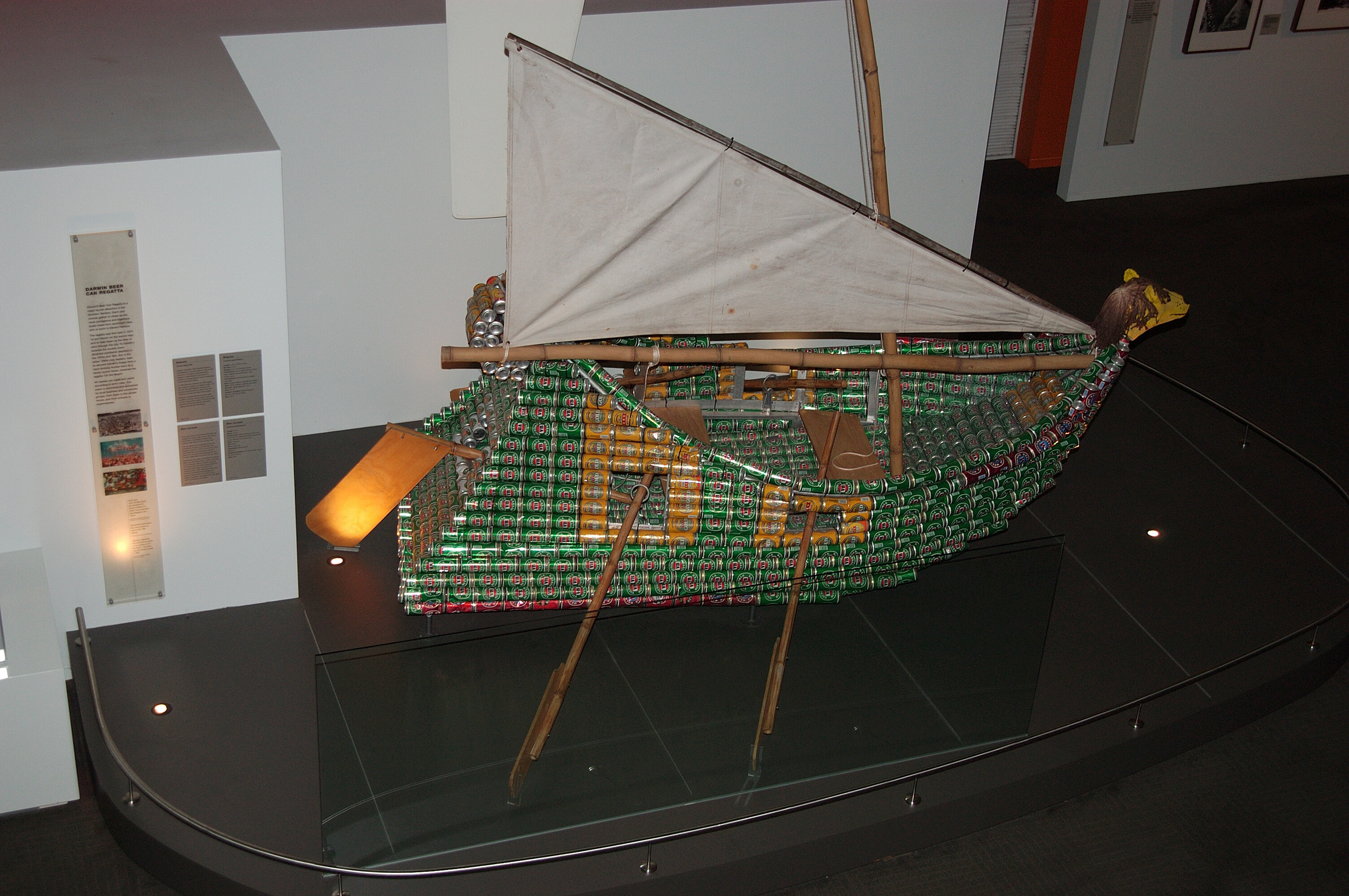 """One fascinating exhibit is a vessel made of Victoria Bitters cans, anexampleof boats created for an annual """"Beer Can R egatta """" held in Darwin."""