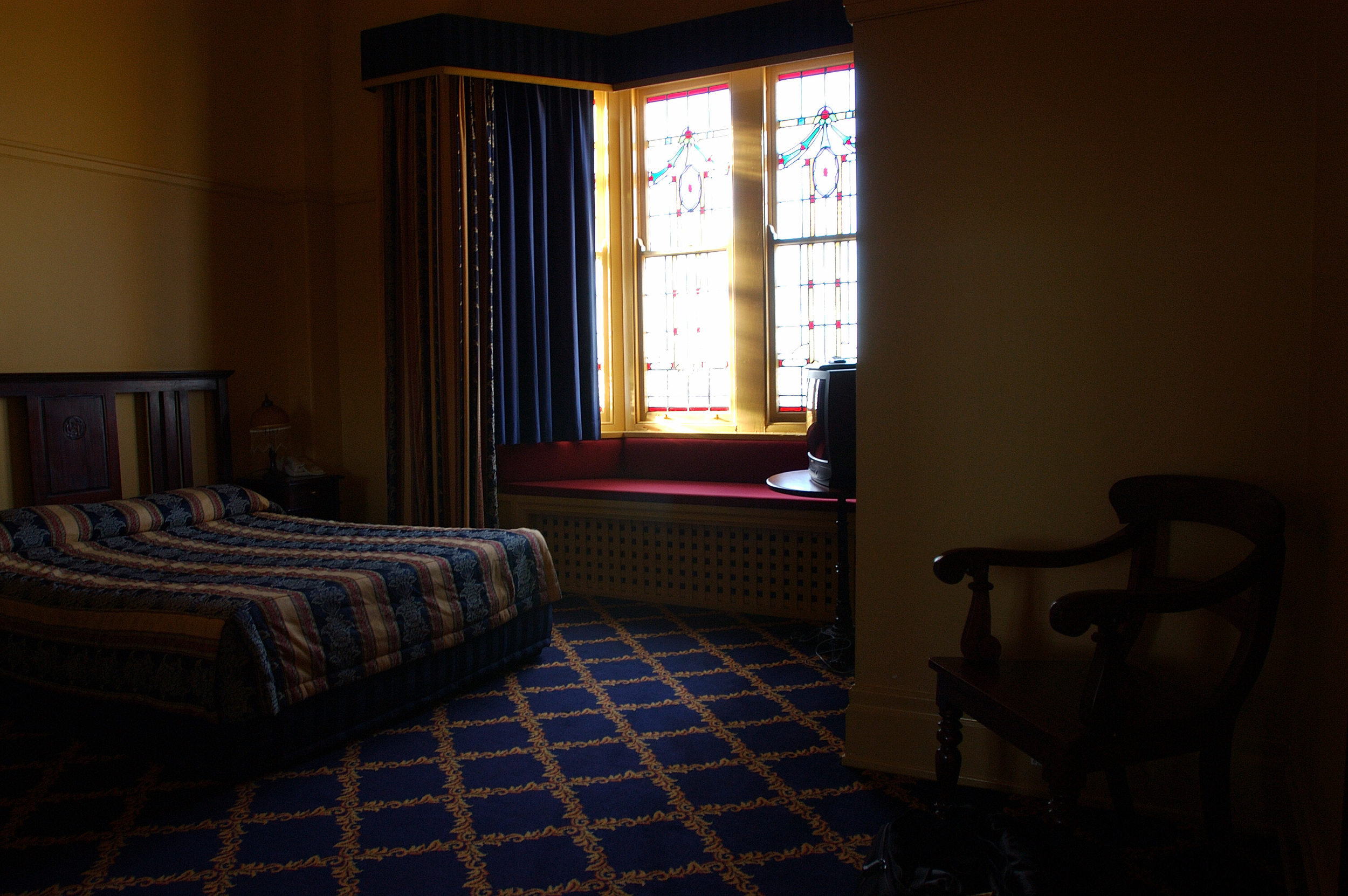 Our room at the Carrington, with stain glass windows.