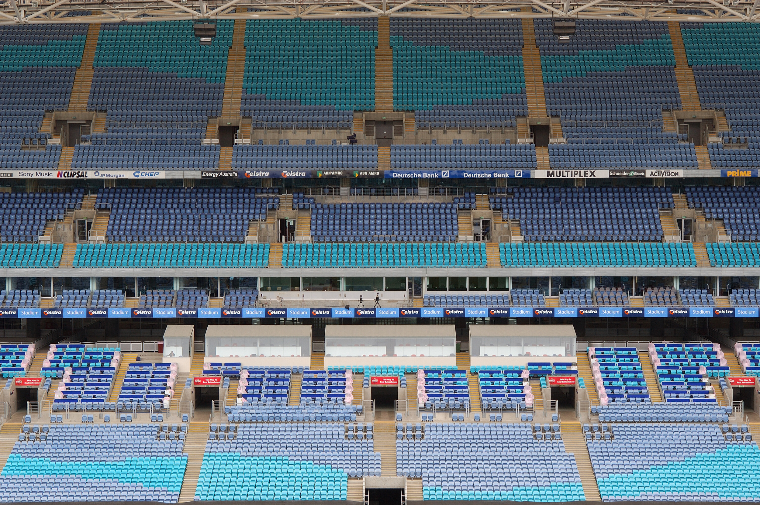 The stadium has seats designed to mimic waves as a nod to Australia's connection to the water as an island nation.