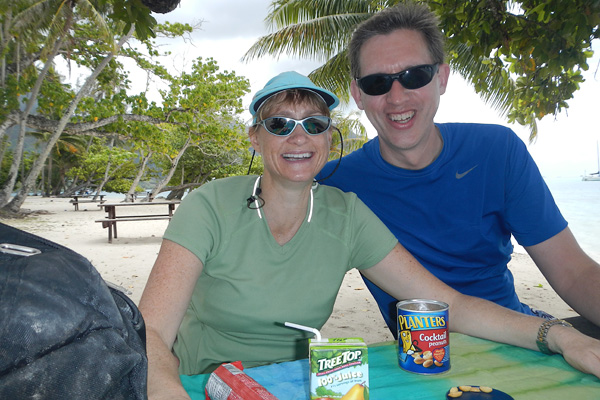 Our pareo turned table cloth in Moorea for an impromptu beachside picnic during a bike ride.