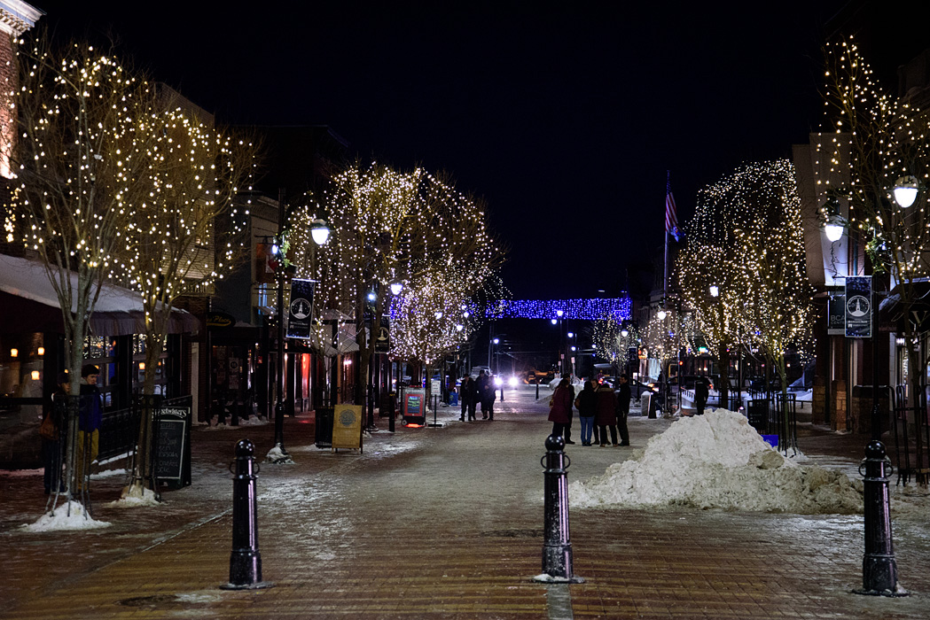 Church St is warmly lit, even on the coldest days!