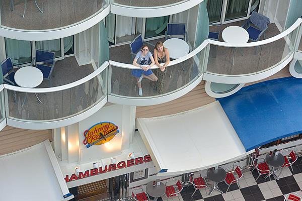 A Boardwalk Balcony and Johnny Rockets below