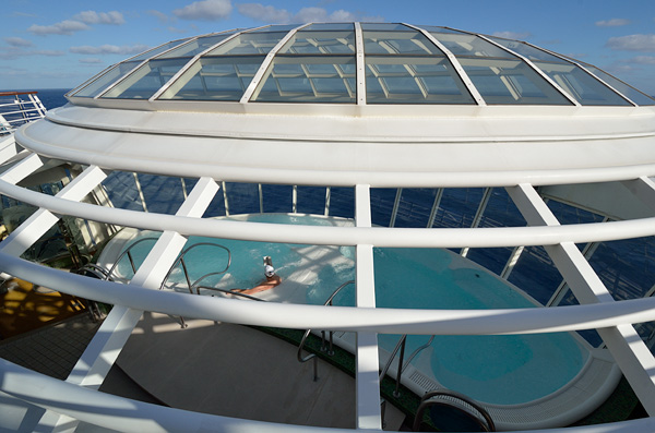 The cantilevered hot tub on the port and starboard sides of the ship