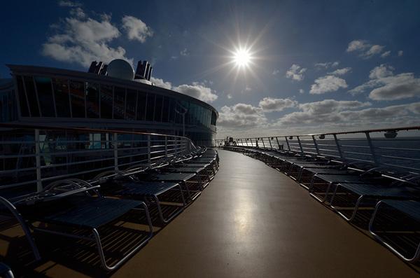 The upper sun decks at sunset