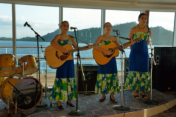 Les Gauguinnes perform during the anniversary and honeymoon celebration at la Palette