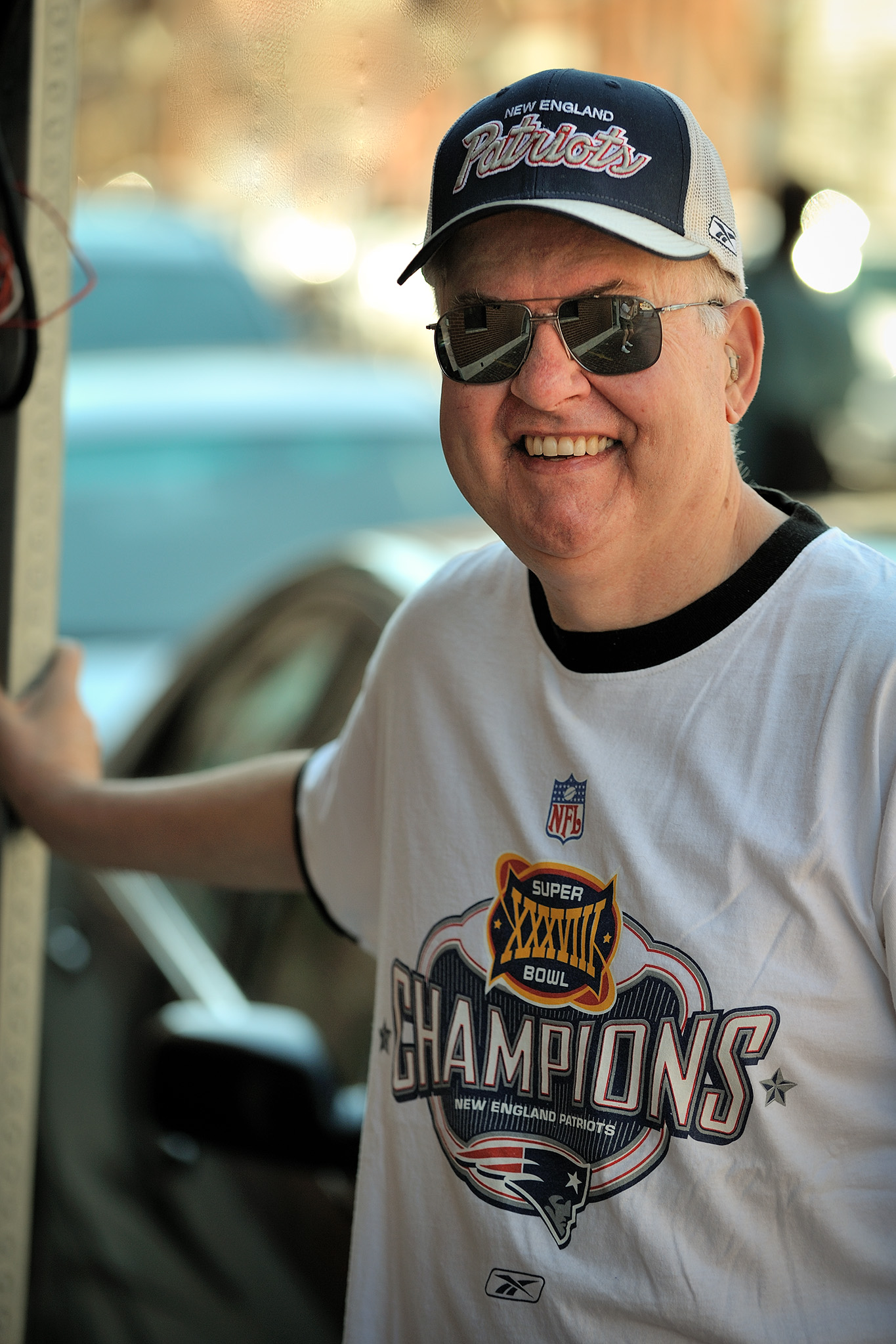 "While Boston fans have a reputation for being ""fanatical""; they are usually very friendly and happy to talk about your favorite team too! Here is a local fan captured on the street in Boston in 2008."