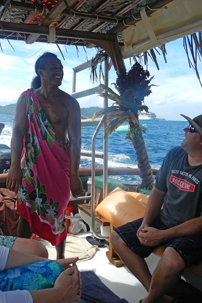Patrick Tairua in Bora Bora rocks his pink pareo while taking tourists out on boat trips to the reef. You might recognize Patrick from his appearance on Amazing Race.