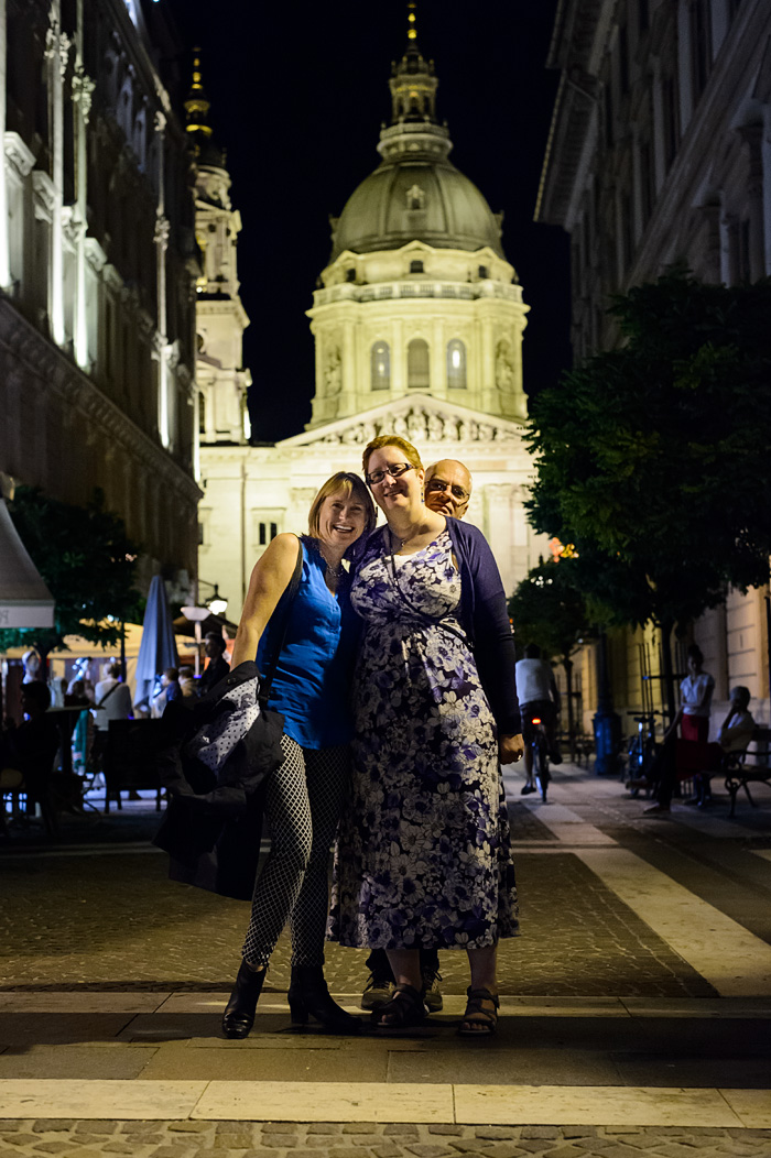 At a 4 way intersection in St Istavan's Square, Budapest...which way do we go? It doesn't matter as long as we are all in it together!