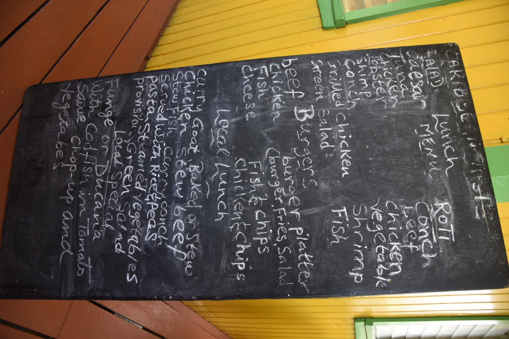 The menu at Caribbean Taste