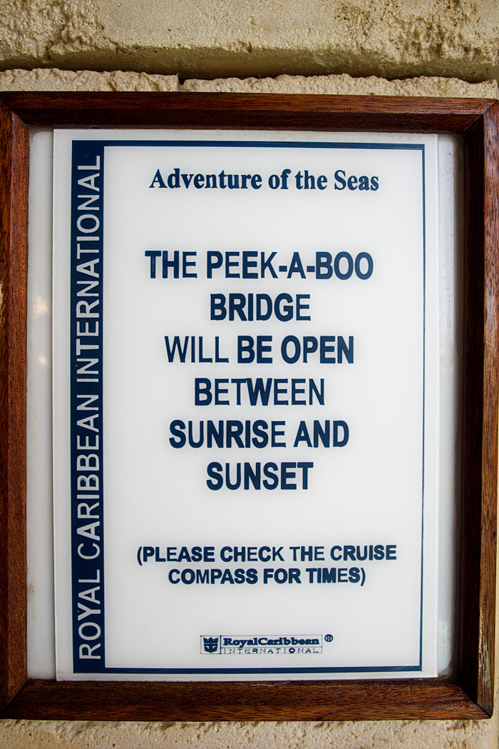 Note in Solarium on the way to Peek A Boo Bridge