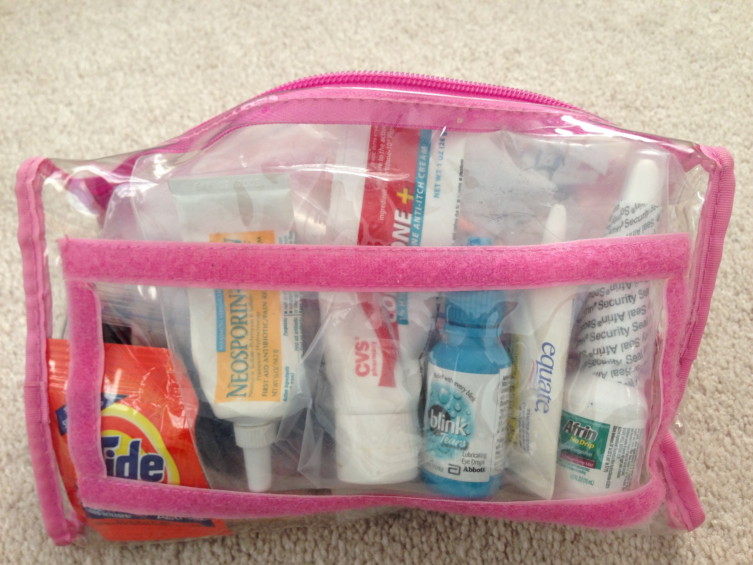 "I keep my ""liquid"" first aid in my gel bag to show at TSA, but in their own small bag so they can join the first aid kit once I arrive at my destination."
