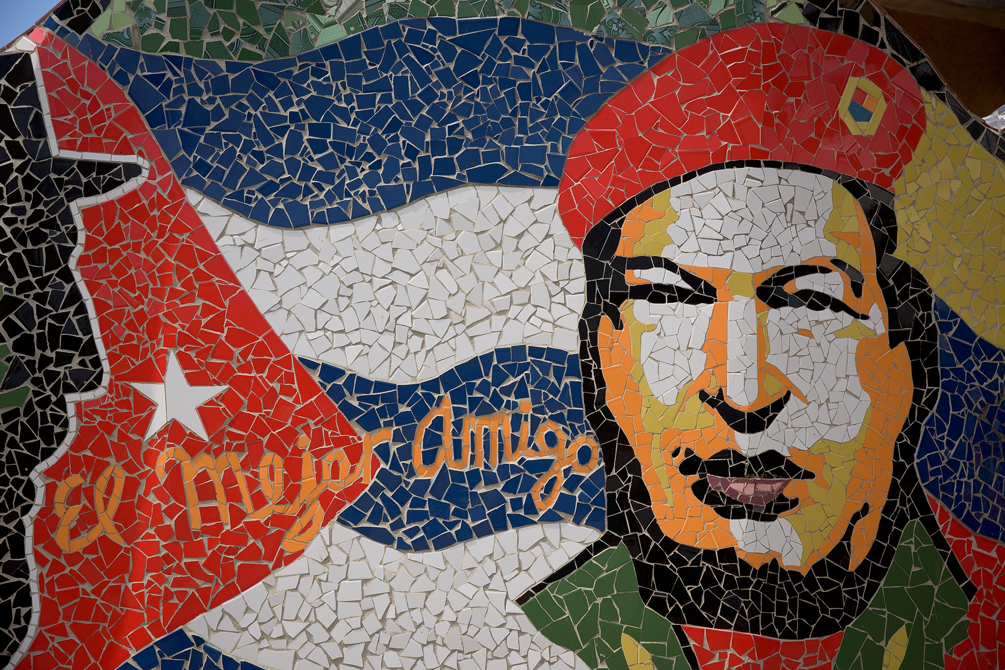 A mosaic of Revolution leader Che Guevara at the Jose Fuster Community Art Project