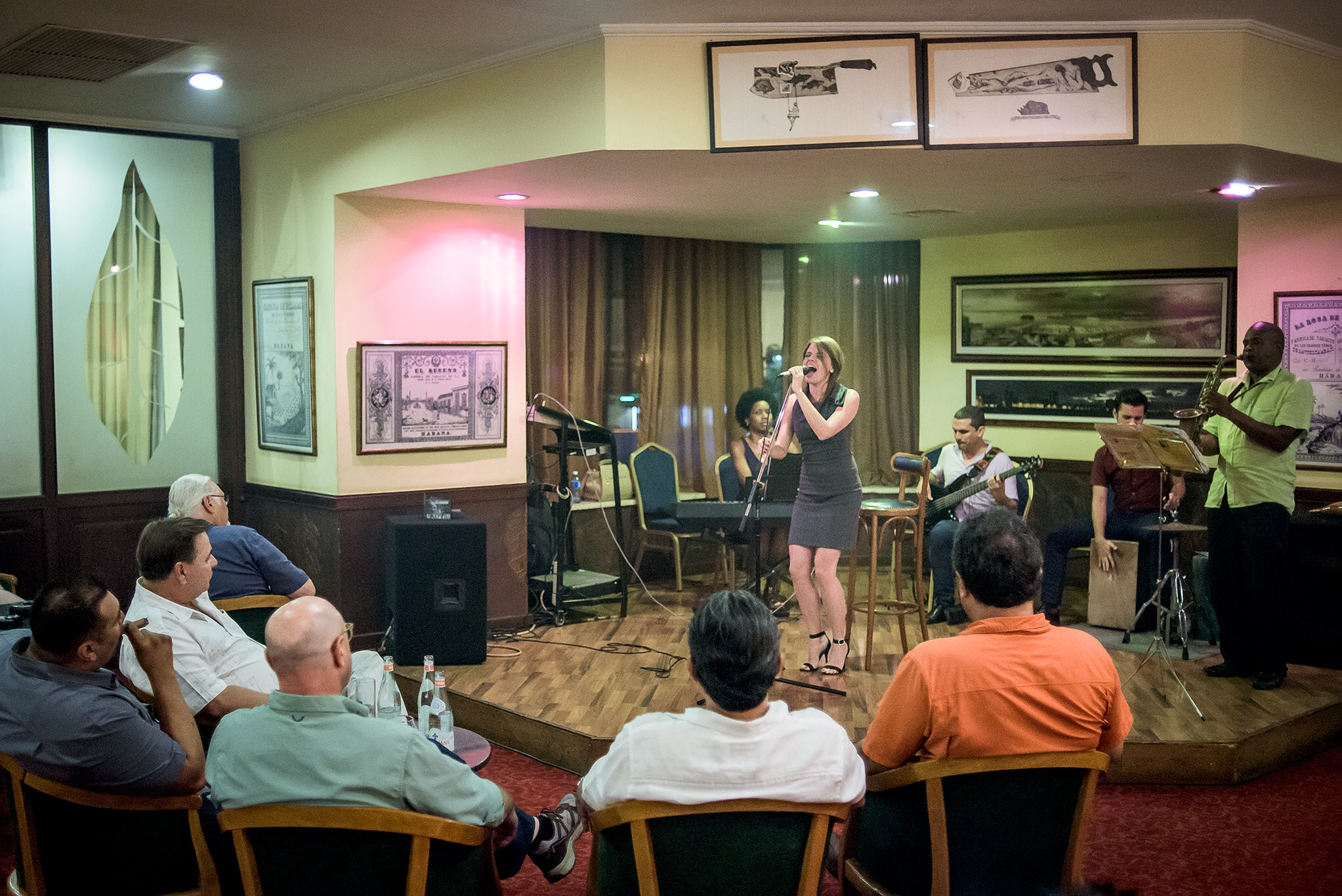 A haze of cigar smoke fills the Jazz club in our hotel. Smokers enjoyed the opportunity to enjoy a cigar and hear good music.