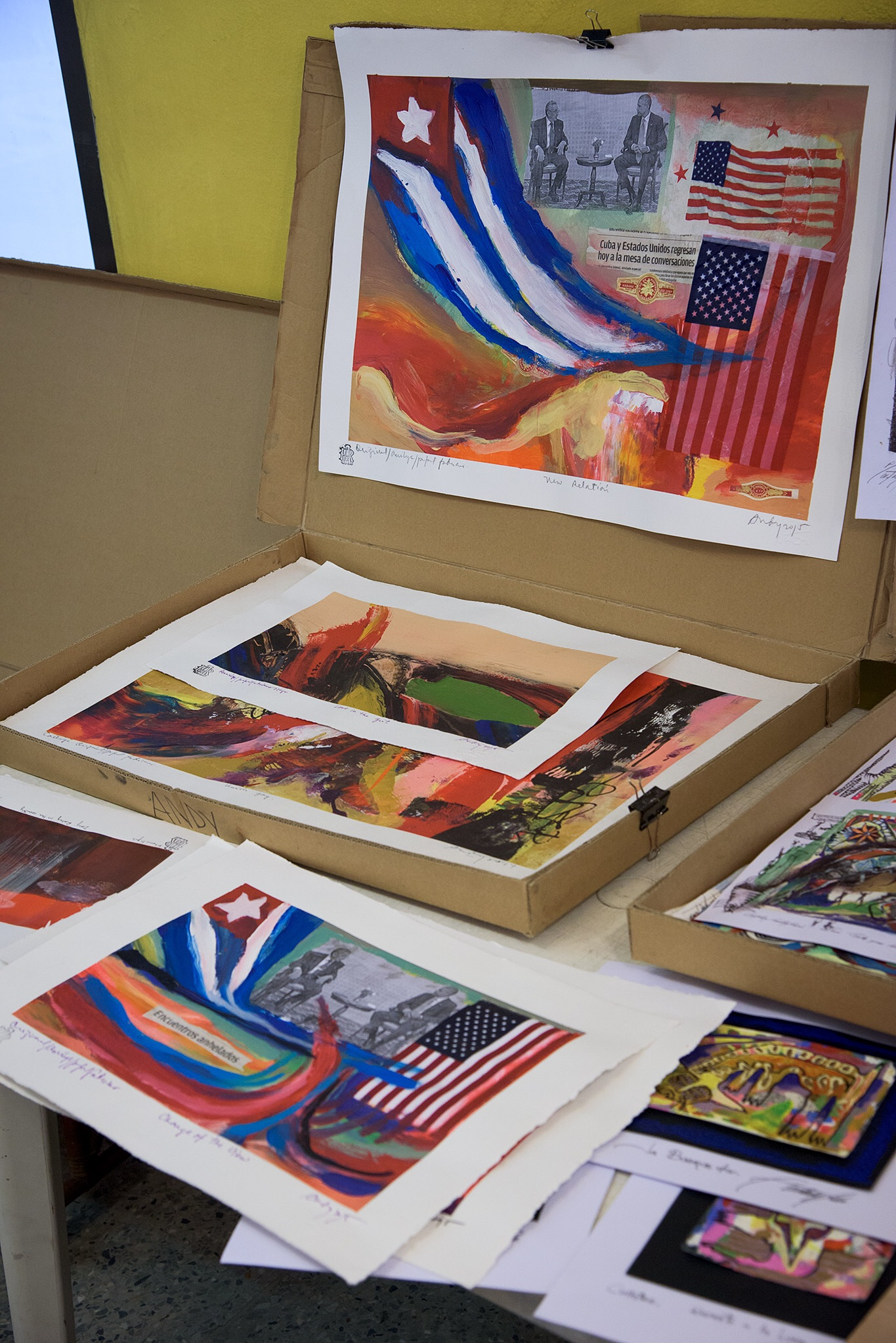 We visited a print shop and gallery where original artwork was available, including this work celebrating the opening of relations between the U.S. and Cuba.