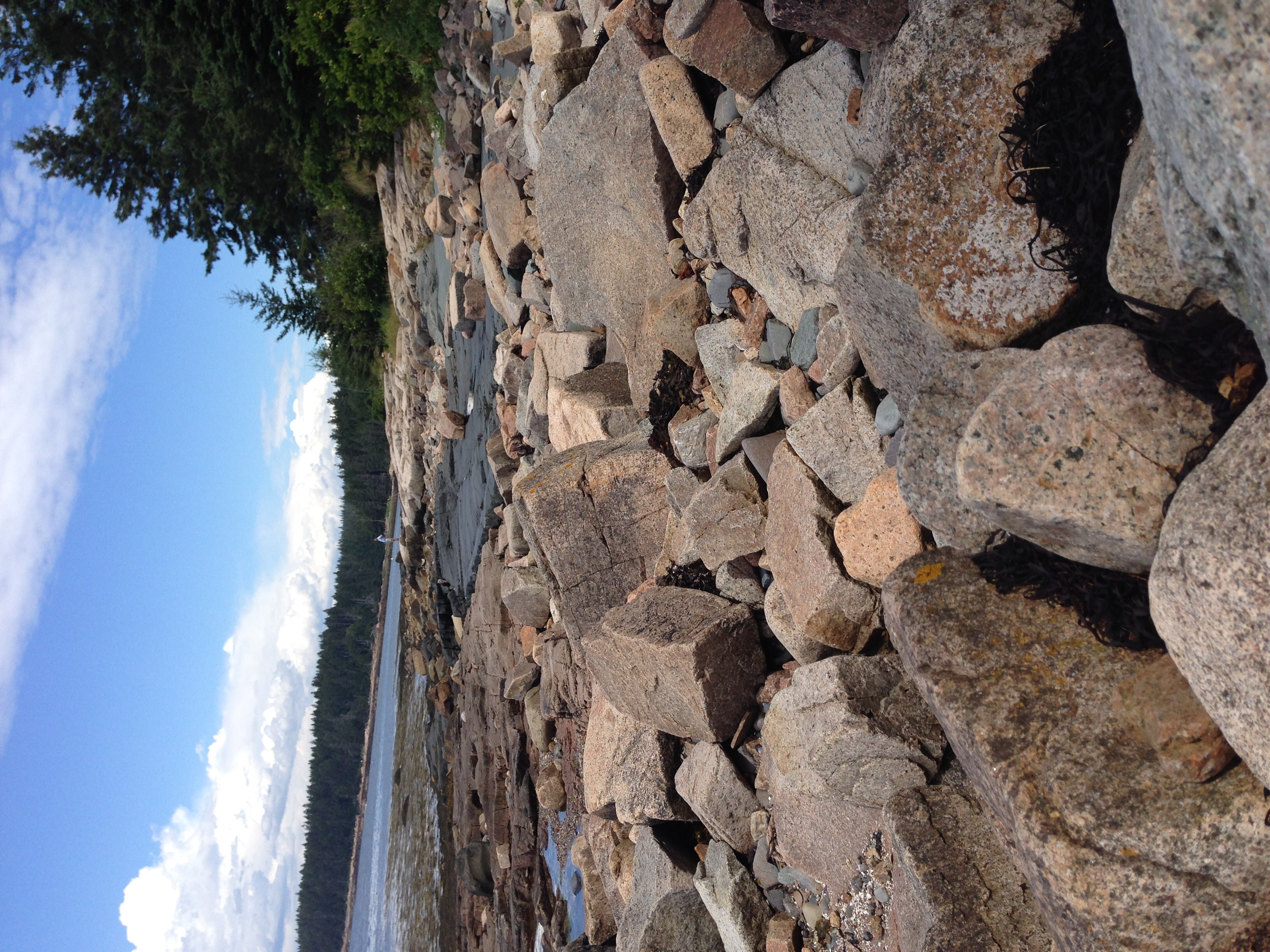 Large boulders and panoramic views on Frazer point. Wandering on the boulders here is safer in the relatively protected entrance to Winter Harbor than further in the park on Schoodic Point.