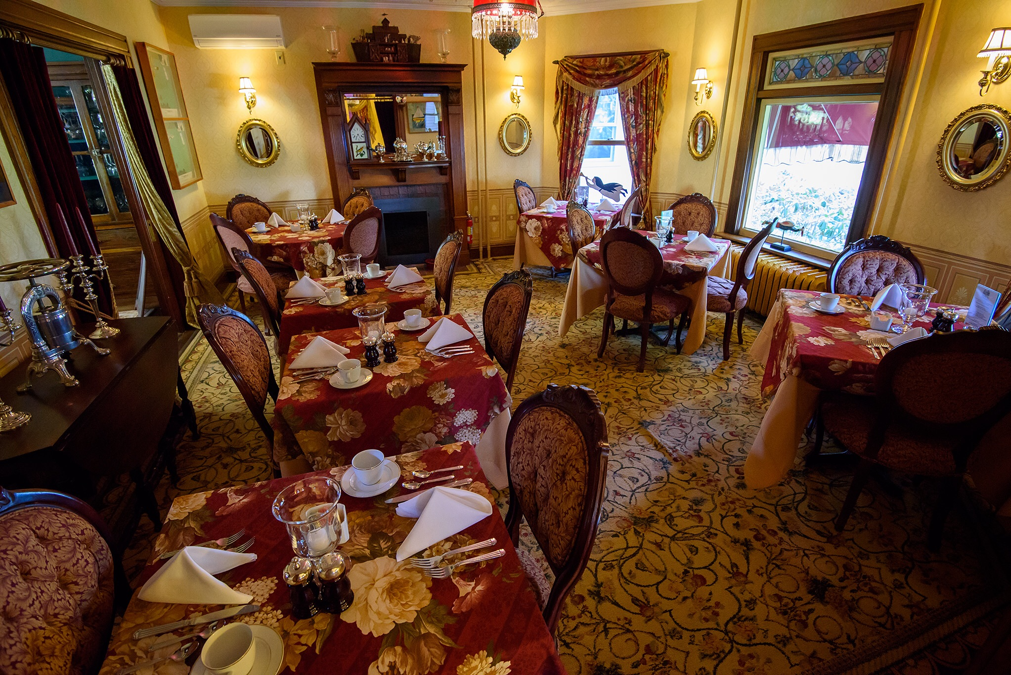 The Victorian style dining room at the Village Inn