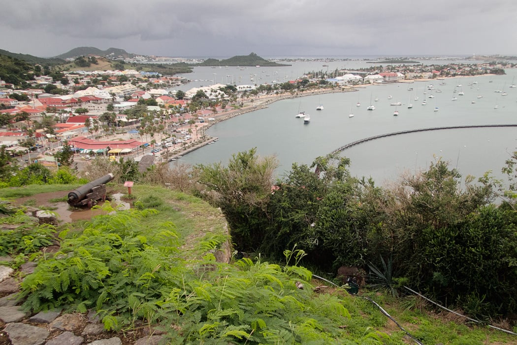 View over Marigot from Fort St Louis