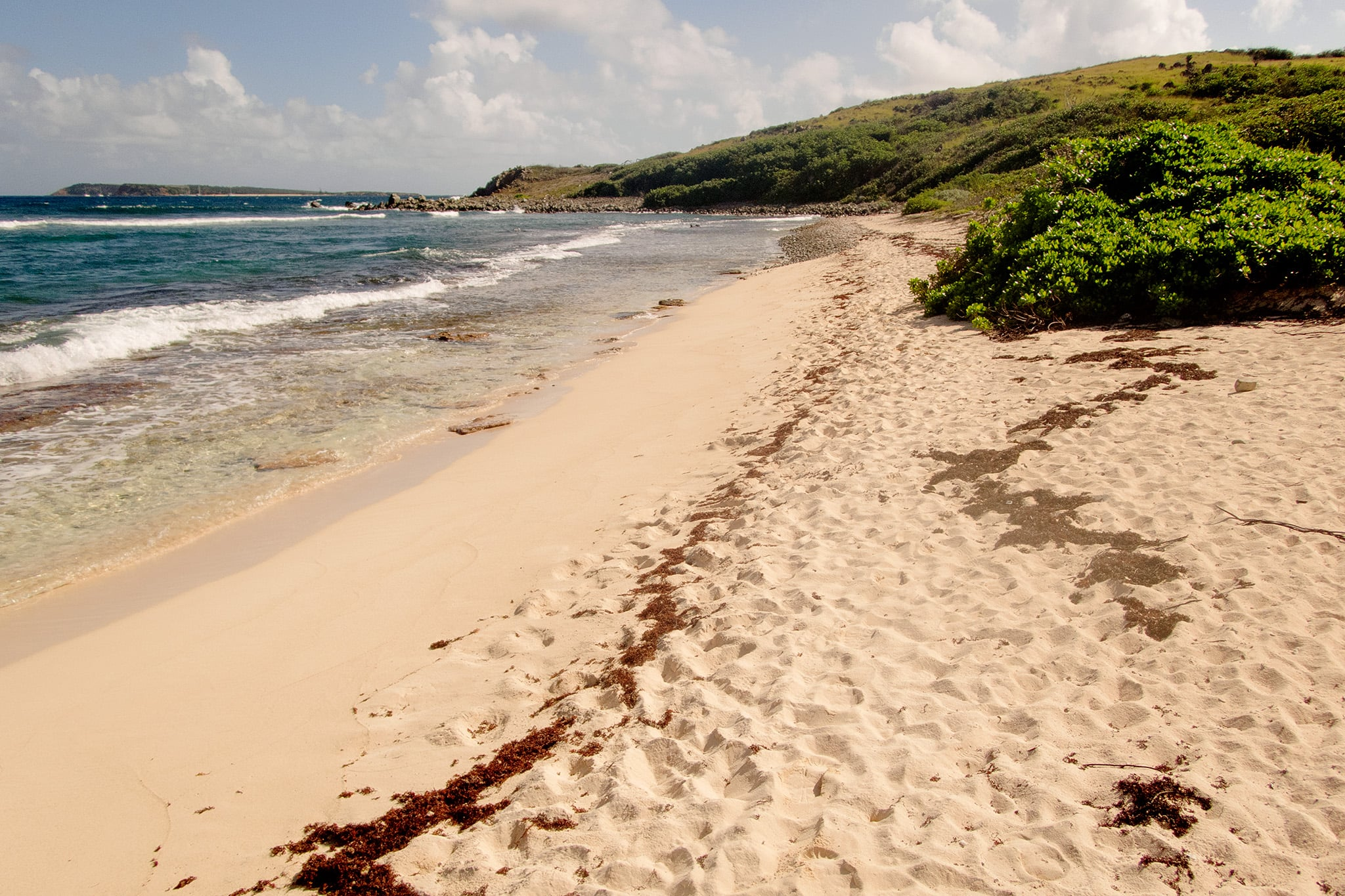 """The reward for a short hot hike- having a quiet beach on the """"other side"""" of the islet to ourselves."""