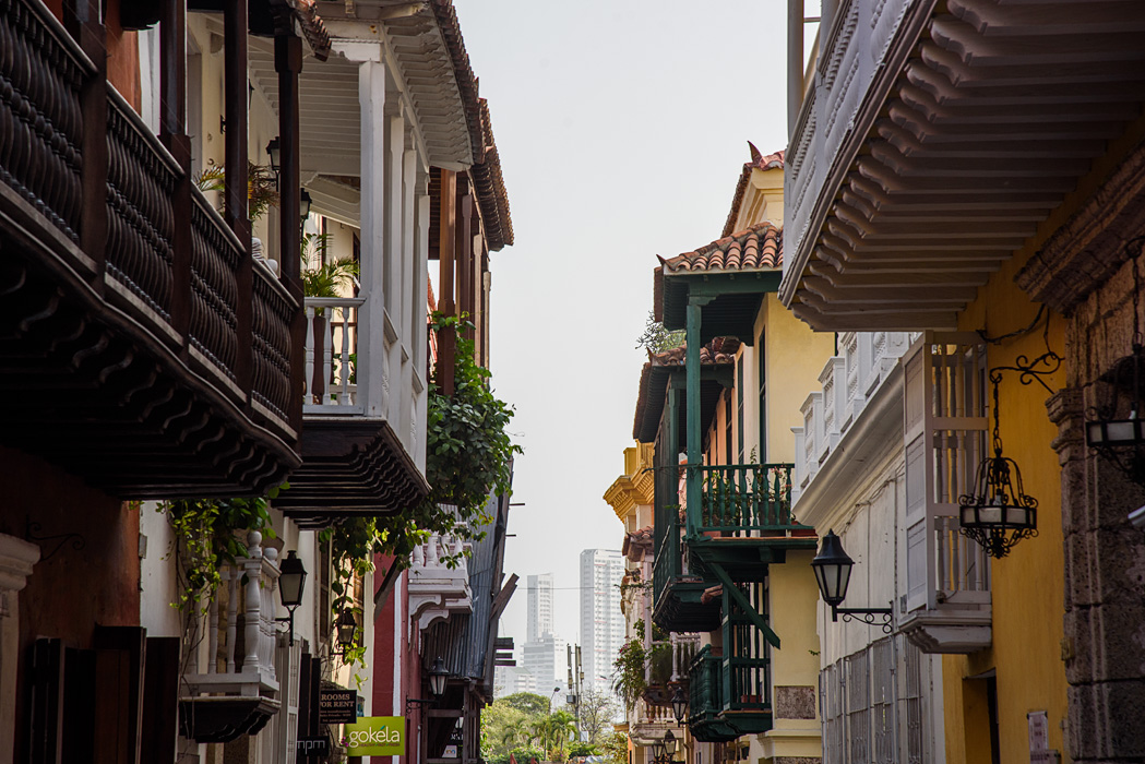 Old Colonial Cartagena with the modern city in the background.