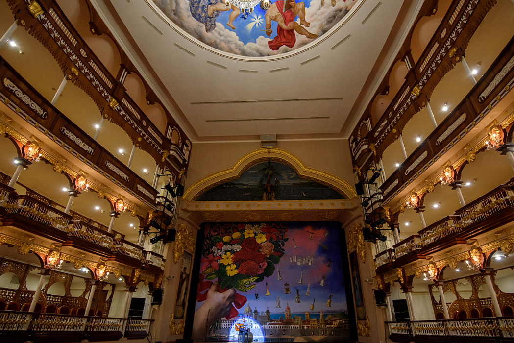 The interior of the Teatro Heredia is beautifully restored and had a fascinating art work on the back drop that featured many of the statues we had seen around town earlier in the day!
