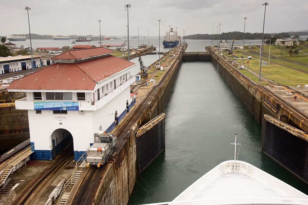 The Azamara Journey enters the Gatun Locks to start a full transit of the Panama Canal
