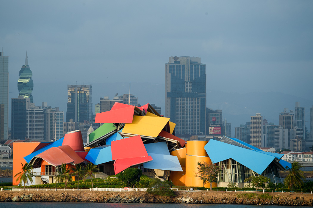 "The Gehry designed Biomuseo at the entrance to the Panama Canal in Panama City makes a colorful announces to the world that Panama City is back as a ""world class city""."