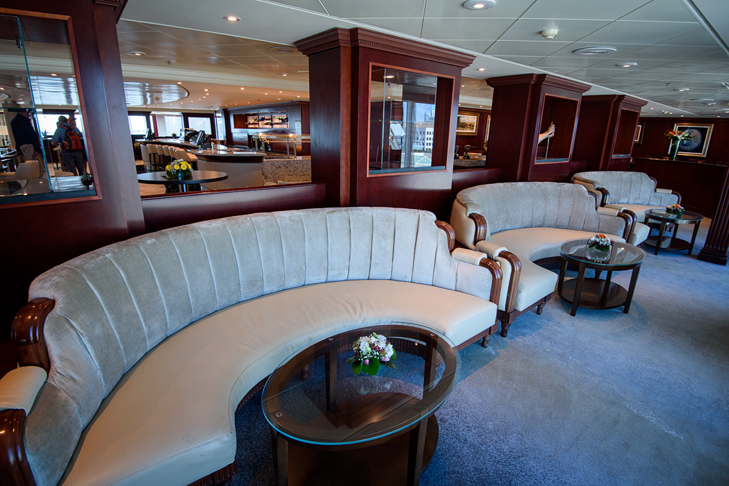 Sitting area in the Living Room facing the port side (starboard side is a card room and online room)