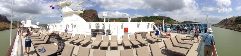 Panorama of Sun Deck in the Panama Canal