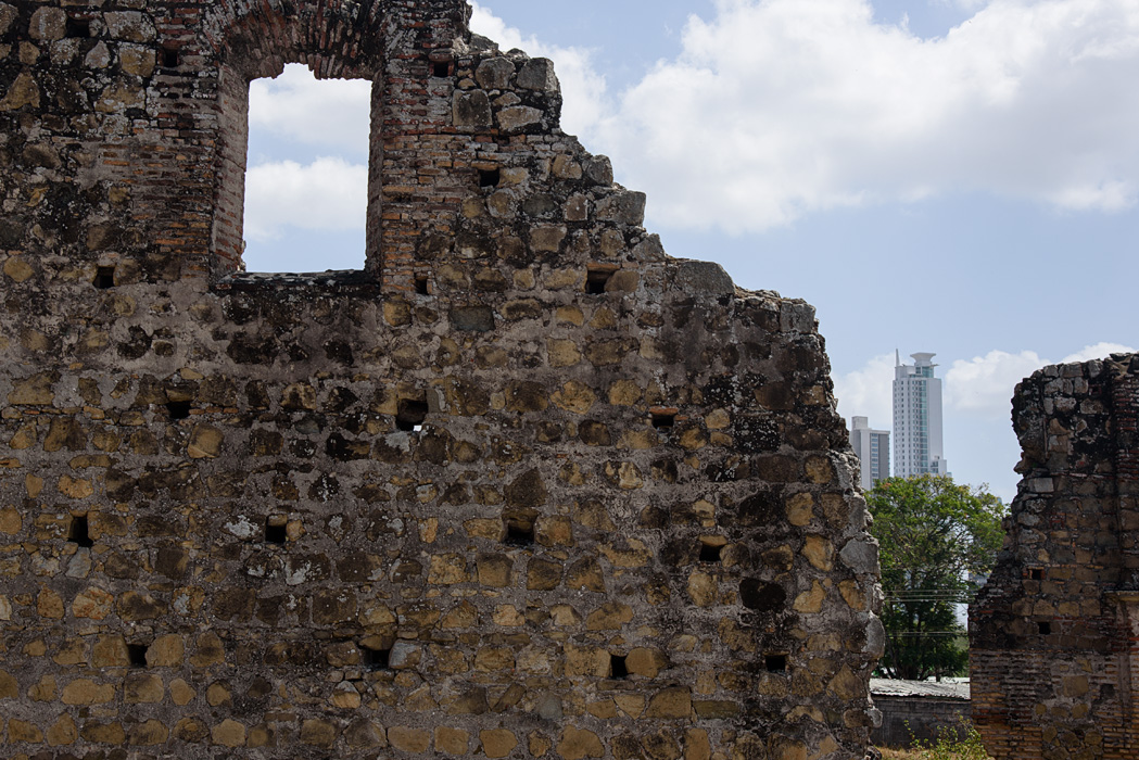 "Panama Viejo- ruins of the original Spanish settlement, a UNESCO heritage site, with ""new"" Panama in the background."