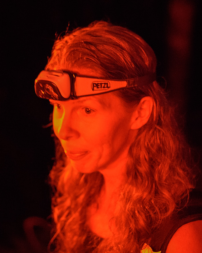 """Tracie and her partner John led our hike. we all wore headlamps which we turned to """"red"""" when we stopped to not blind ourselves or the creatures we were seeing."""