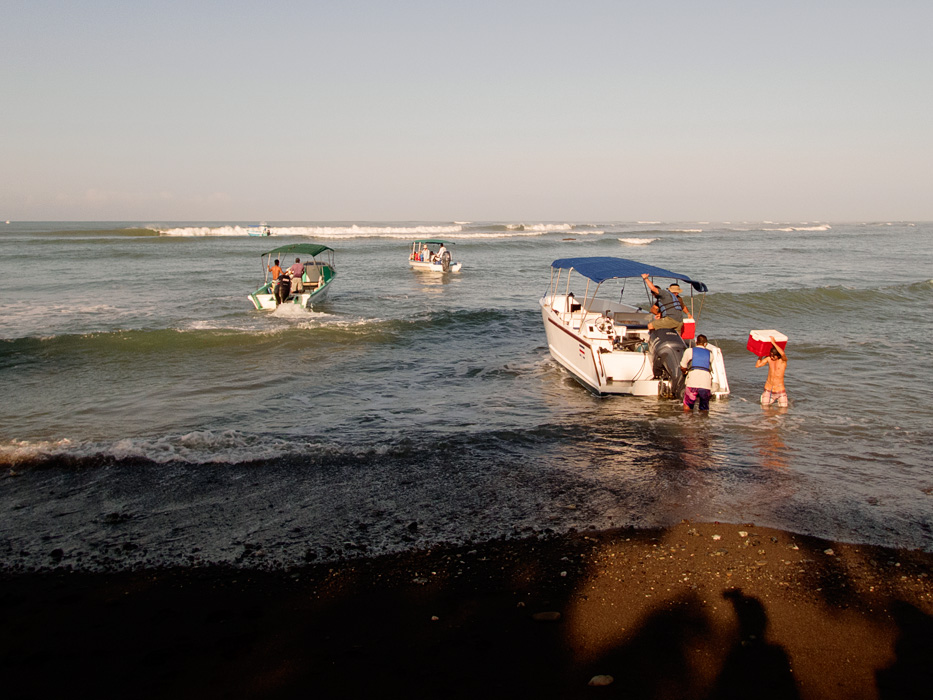 """Be prepared for a """"wet"""" landing at Sirena Station. The boats back up, wait for a lull in the surf and then the guides hustle everyone off the back of the boat onto the shore."""