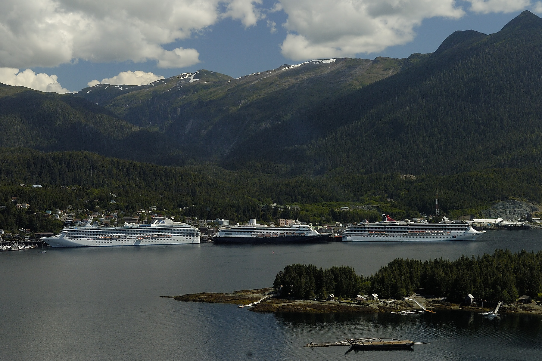 Ships in port in Ketchikan from the float plane