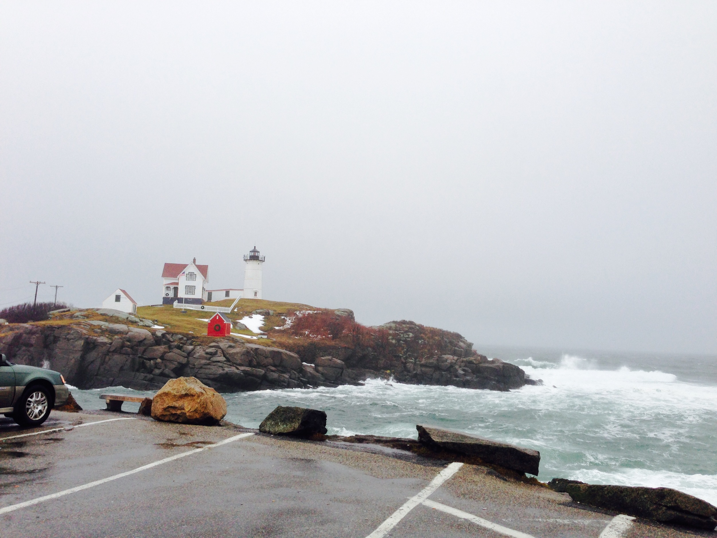 Normally, cars are backed up trying to get into the parking lot at Sohier Park, York Beach ME (Nubble Lighthouse) In January, drive up and park anywhere!
