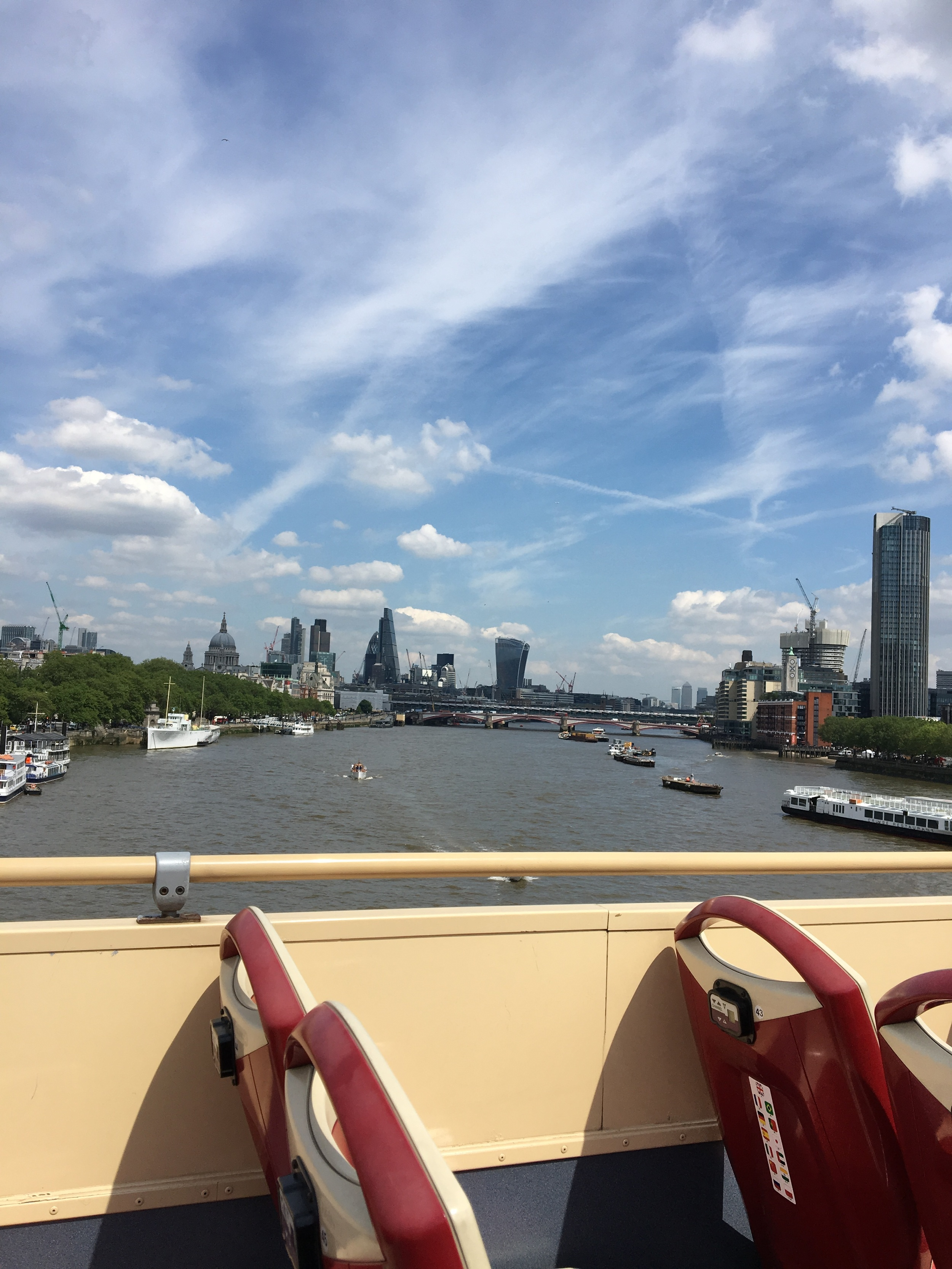 The open topped HOHO buses allow a clear view of the Thames.