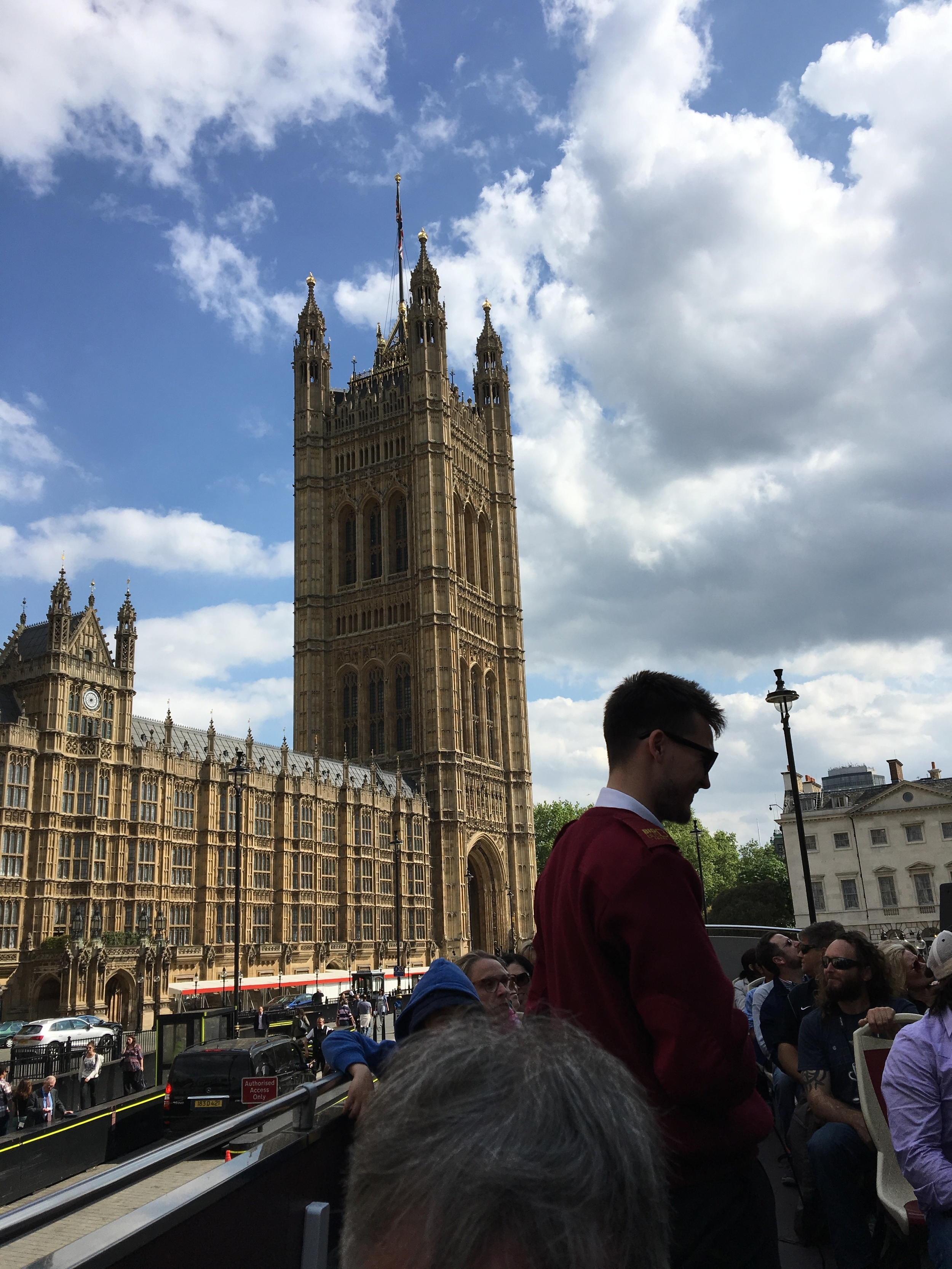 The live guides offer narration and answer questions, on board near the Houses of Parliament