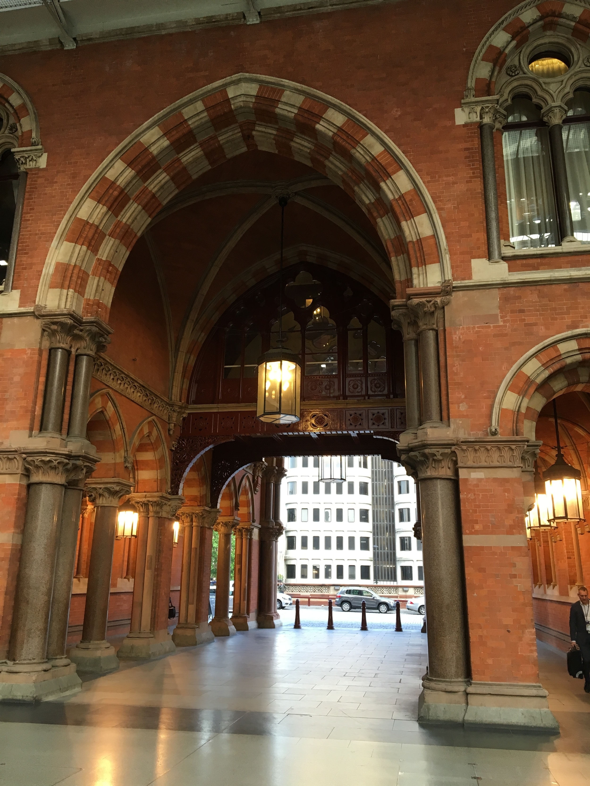 The dramatic entrance to the rail station and hotel lobby
