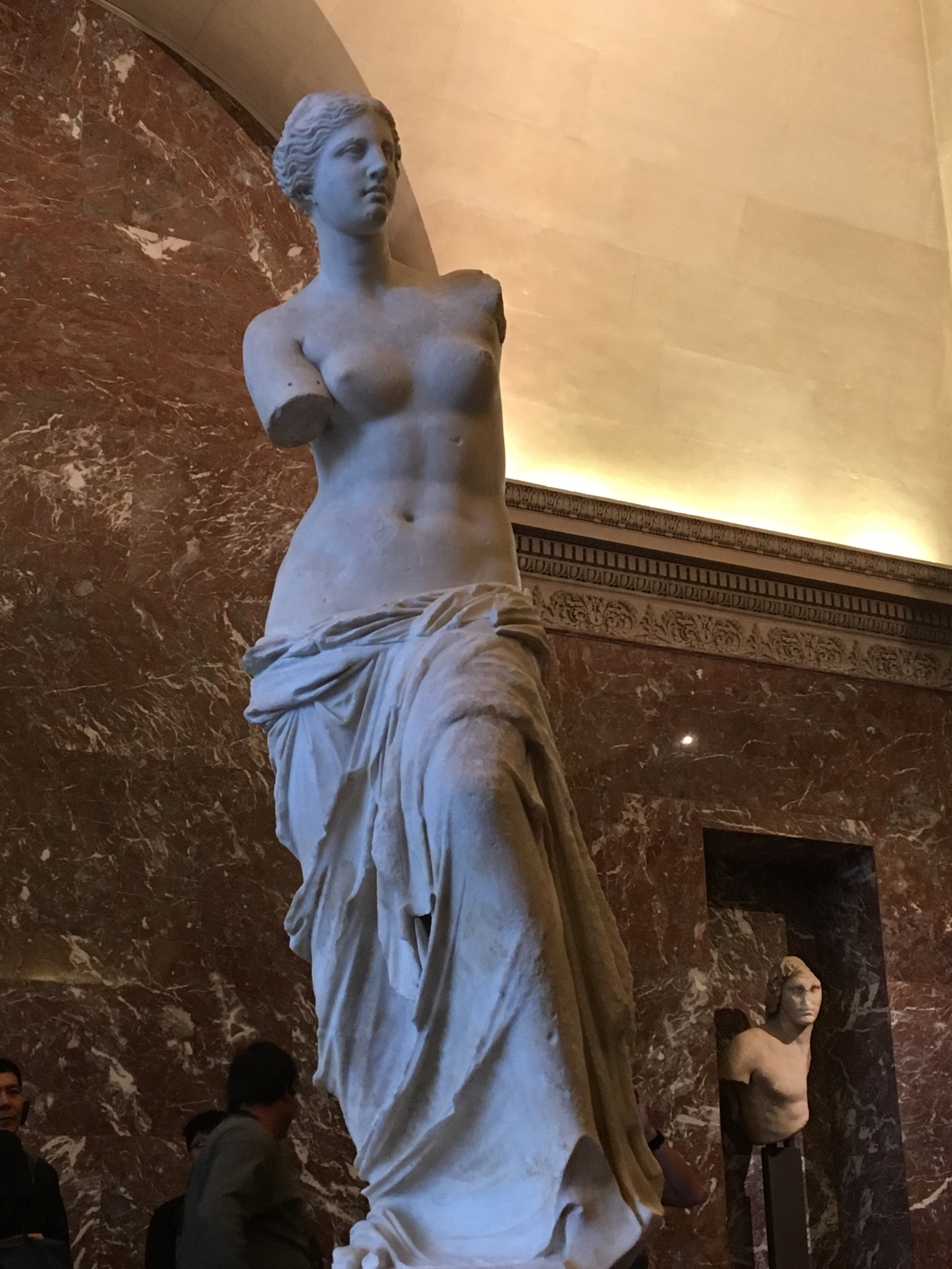 One of the starred attractions...Venus De Milo, 3rd-1st century before Common Era is an example of Greek marble sculpture, another version of Aphrodite, despite having a Roman name.