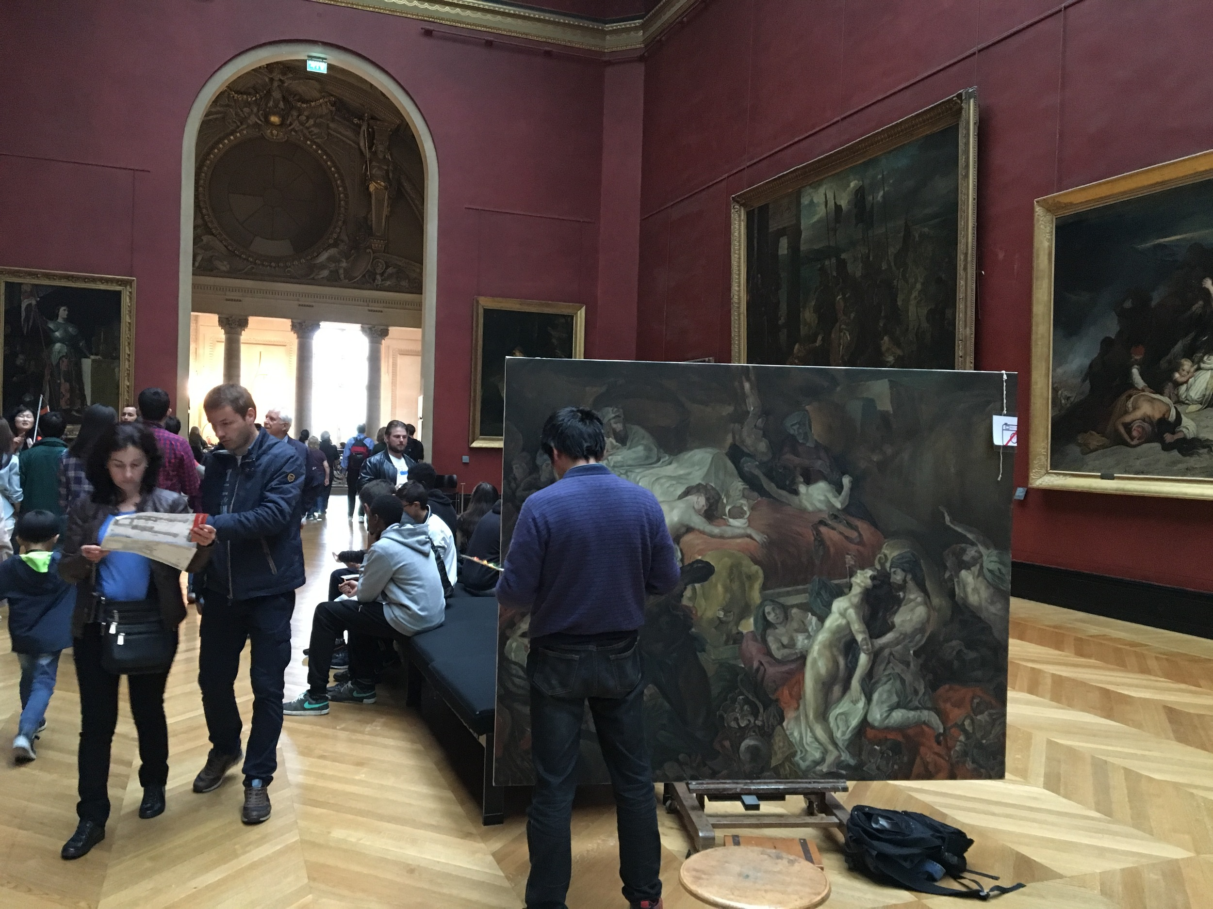 After the revolution, the Louvre became a place for artists to live and work, and the museum still allows artists to get a permit to work in the galleries.