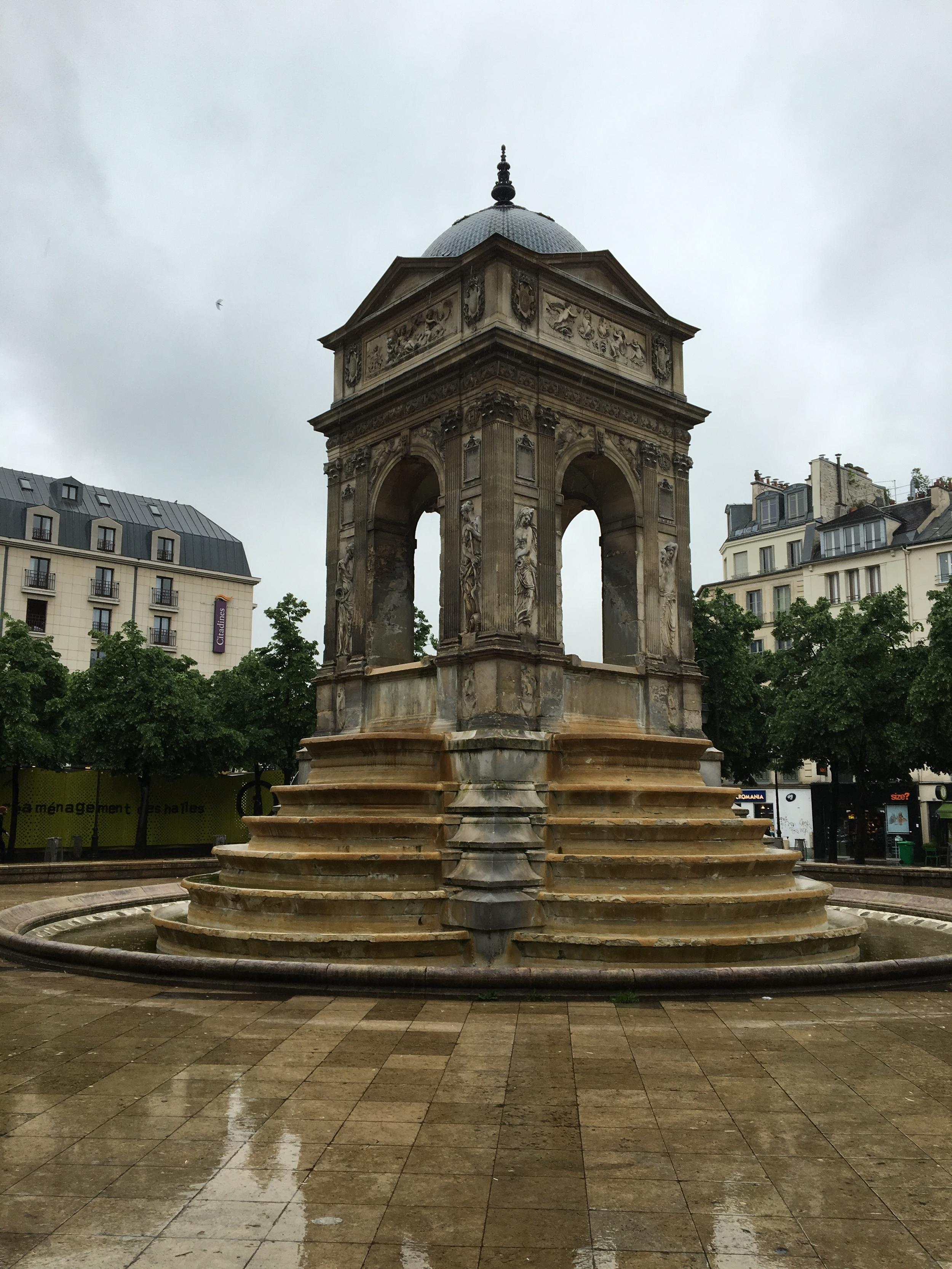 In Les Halles, the last Renaissance fountain in the city- Les Fontaine des Innocents