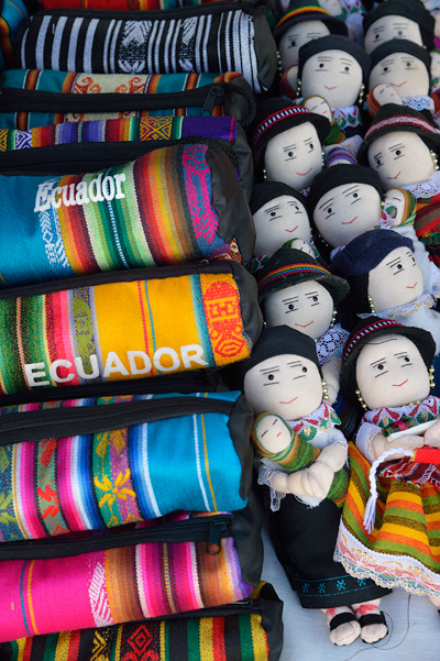The tourist craft market at Otavalo had lots of souvenirs...