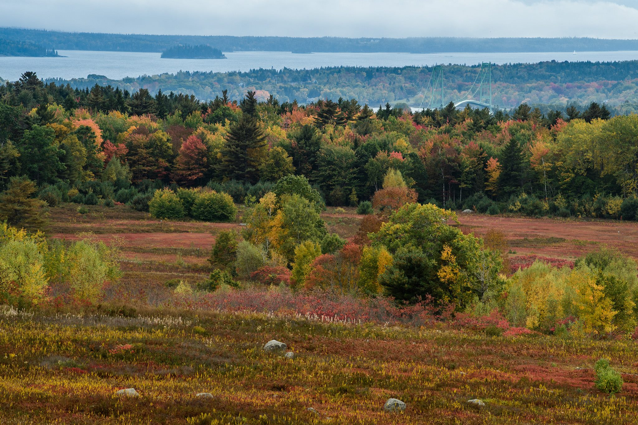 Views from the overlook at Caterpillar Hill in Sedgwick to the Deer Isle Bridge and Deer Isle