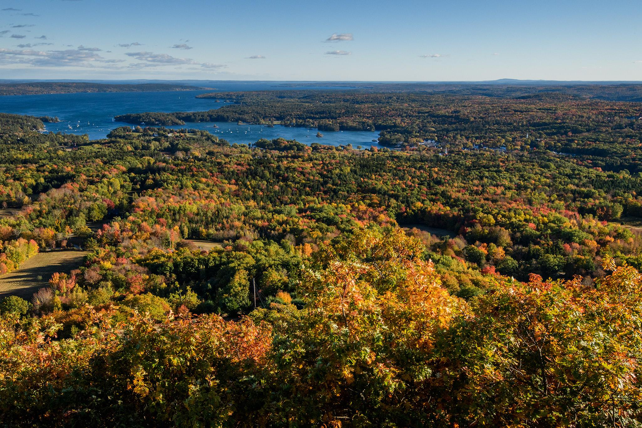 Blue Hill Bay from Blue Hill Mountain, trails maintained by Blue Hill Heritage Trust, who manage dozens of trails and walks through out the area. Including much easier ones through blueberry barrens or along the shores of the ocean.