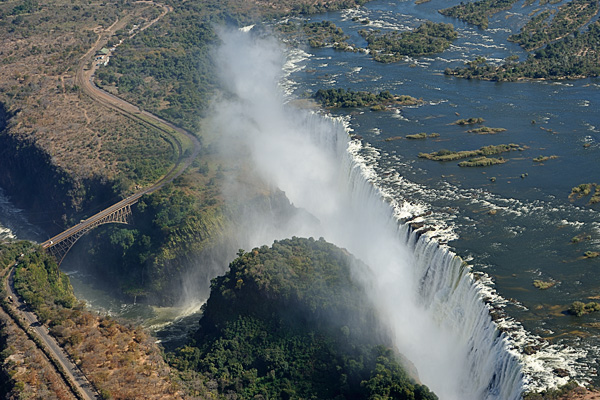"Victoria Falls in Zambia from an ""Angel Flight"" over the falls."