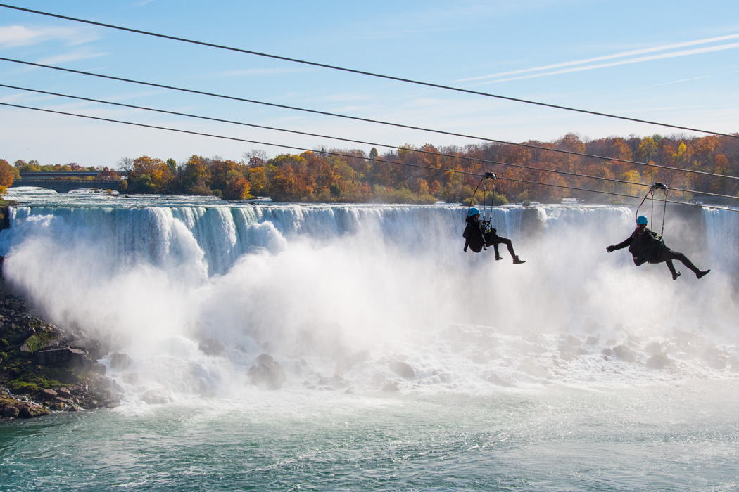 Ziplining across the Niagara Falls.