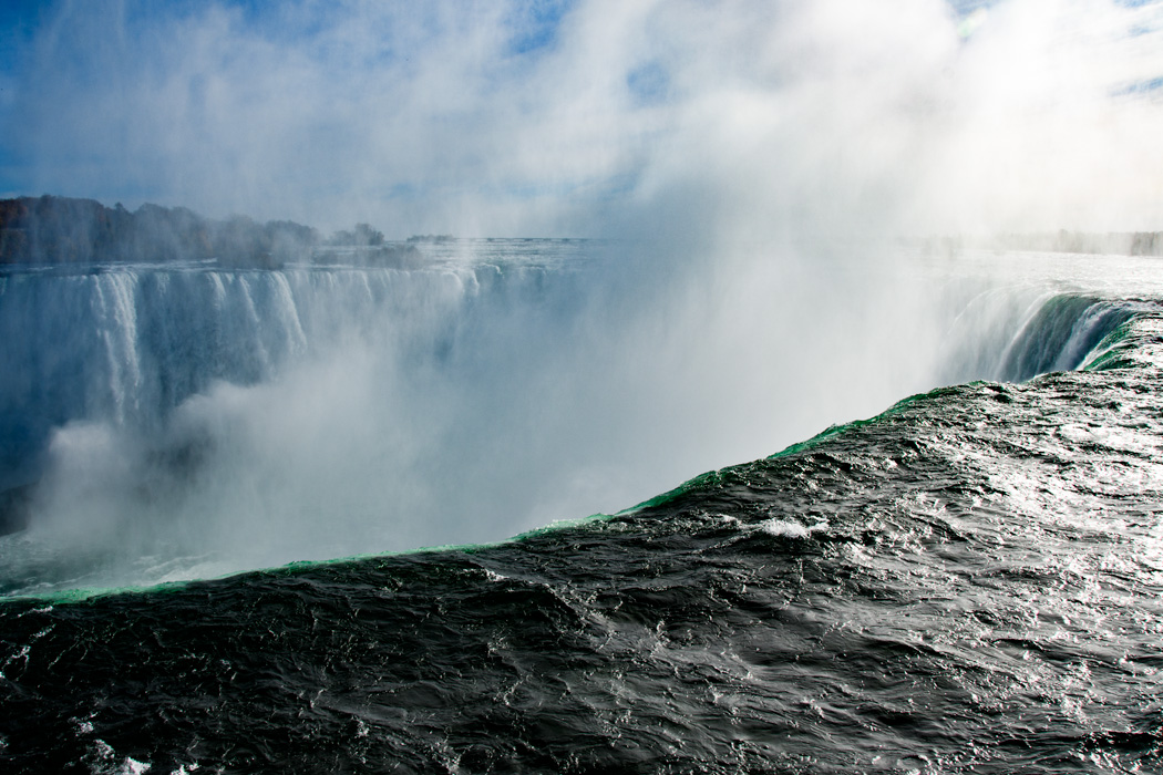 The power of the Horseshoe Falls can be felt in the spray coming up in the faces of the tourists standing against the railings on the Canadian side. Sometimes the direction of the spray can create a fog that obscures the view!