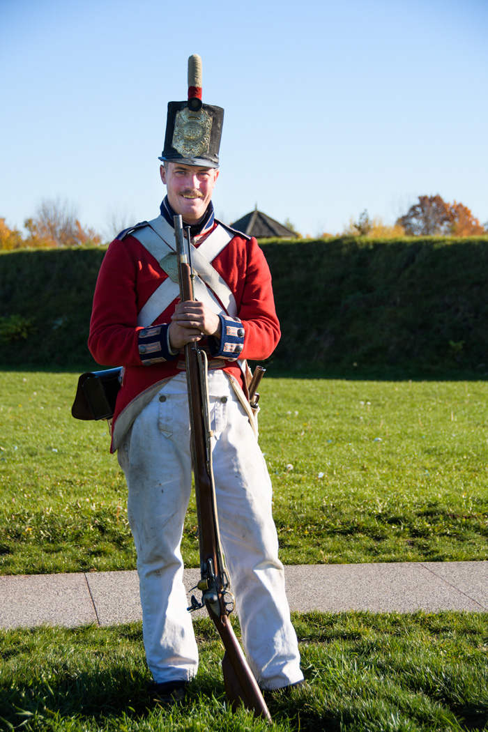 A costumed actor performed a musket demonstration.